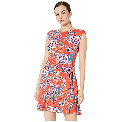 eci Sleeveless Floral Printed Stretch Faux Wrap Dress (Red) Women