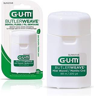GUM ButlerWeave Waxed Dental String Floss, Resists Shredding, Mint, 183m