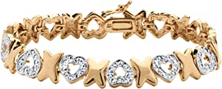 Palm Beach Jewelry White Pave Diamond Accent 18k Gold-Plated Hearts and Kisses Bracelet 7