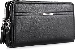 WIN Mens Leather Wallet,Zip Clutch Long Wallet Purse Credit Card Holder