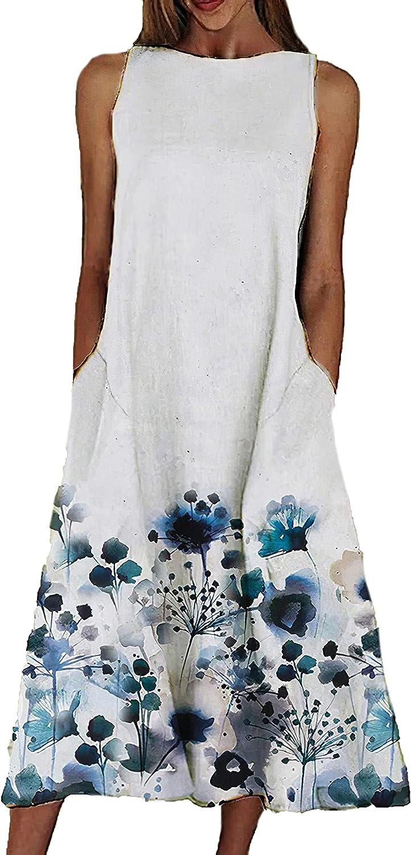 Akivide Vintage Retro Floral Print Dress for Women Sundress Summer Plus Size Casual Loose Sleeveless Midi Dress 3X