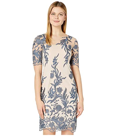 Tahari by ASL Short Sleeve Embroidered Shift Dress (Nude/Blue Floral) Women