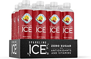 Sparkling Ice, Fruit Punch Sparkling Water, with Antioxidants and Vitamins, Zero Sugar, 17 fl oz Bottles (Pack of 12)