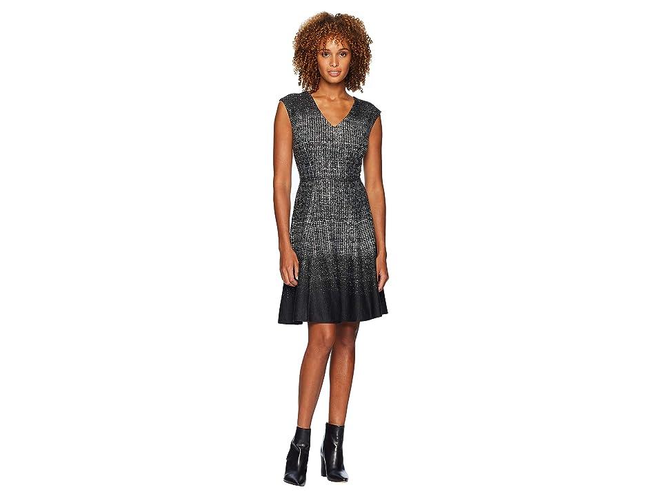 bd1f92e0511 London Times Space Border Fit Flare Dress (Black Grey) Women