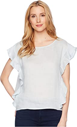 TWO by Vince Camuto - Flutter Sleeve Linen Blouse
