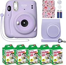 Fujifilm Instax Mini 11 Instant Camera Lilac Purple + Custom Case + Fuji Instax Film Value Pack (50 Sheets) Flamingo Desig...