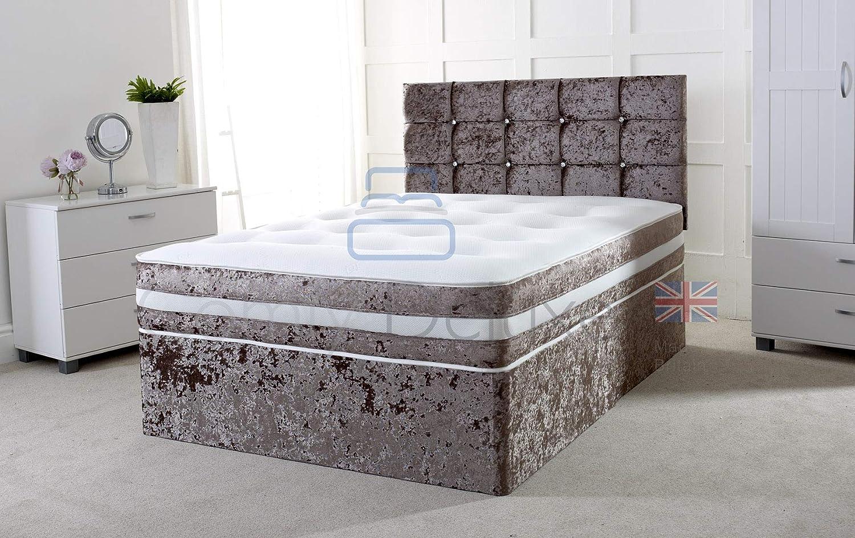 4FT SMALL DOUBLE CRUSHED VELVET DIVAN BED BASE CRUSH HEADBOARD STORAGE DRAWS