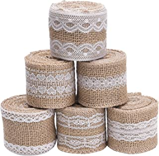 Livder 6 Rolls 2 Inch Width Natural Jute Burlap Ribbon with White Lace for DIY Home Decoration, Wedding Party and Gift Pac...