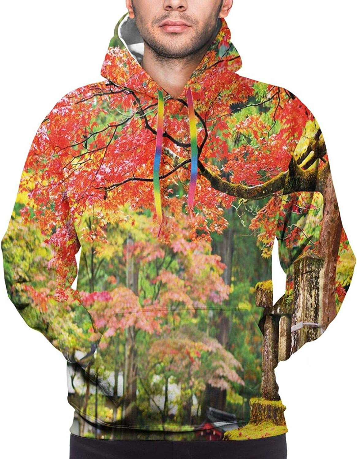 Men's Hoodies Sweatshirts,Autumn Road with Warm Colored Leaves Mountains and Grassland Cartoon Style Nature