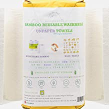 Ecosophy Bamboo Reusable Paper Towels - 2 Rolls 1 Year Supply - Large Size Reusable Paper Towels Roll - Thick Strong For H...