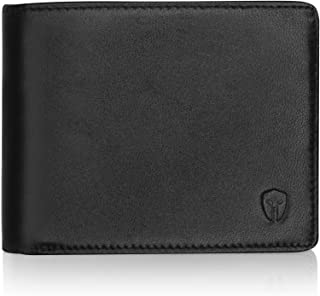 2 ID Window RFID Wallet for Men, Bifold Top Flip, Extra Capacity Travel Wallet (Black - Sheepskin Leather, Medium)