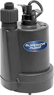 Superior Pump 91250 1/4 HP Thermoplastic Submersible Utility Pump with 10-Foot Cord (Renewed)