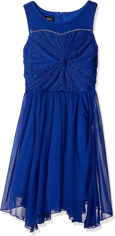 Amy Byer Girls' Big Girls' Glitter Bodice Knot Front Hanky Hem Dress