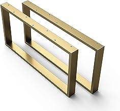 sossai® stalen tafelvoet/salontafelvoet Basic   2 stuks   Breedte 80 cm x hoogte 40 cm - tafellopers CKK1   Kleur: goud (g...