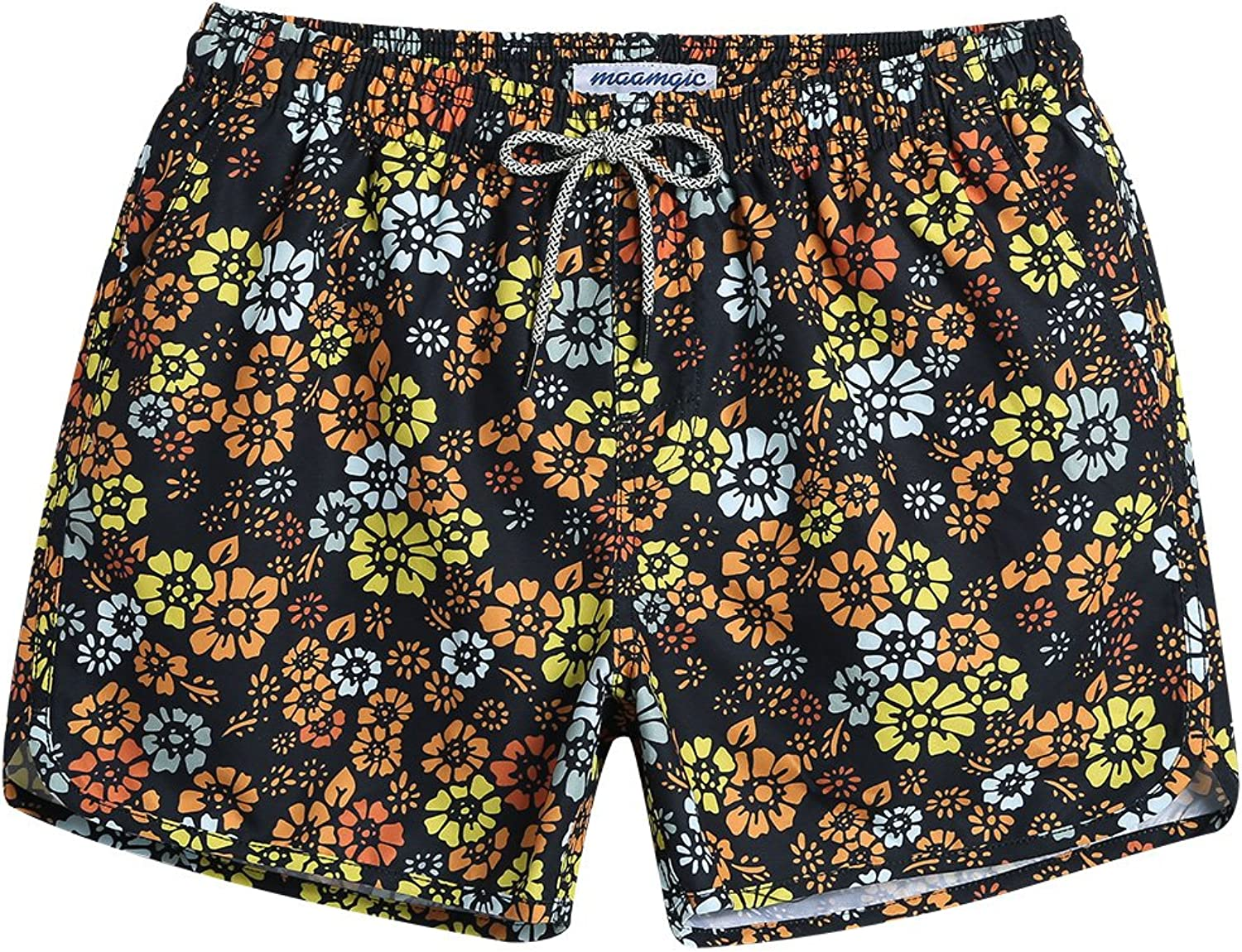ce372fb30a4ce MaaMgic Mens Short 80s Swim Trunks with Mesh Lining Lining Lining Quick Dry  Floral Vintage Swim Trunks Bathing Suits 18111854350 a2e154