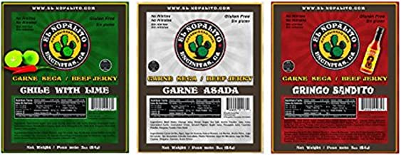 El Nopalito Beef Jerky – Cattle Sourced from CA - Gluten and Nitrate/Nitrite Free High Protein Snack - Made in the USA - Chili with Lime/Carne Asada/Gringo Bandito (Three Pack) 3 oz each