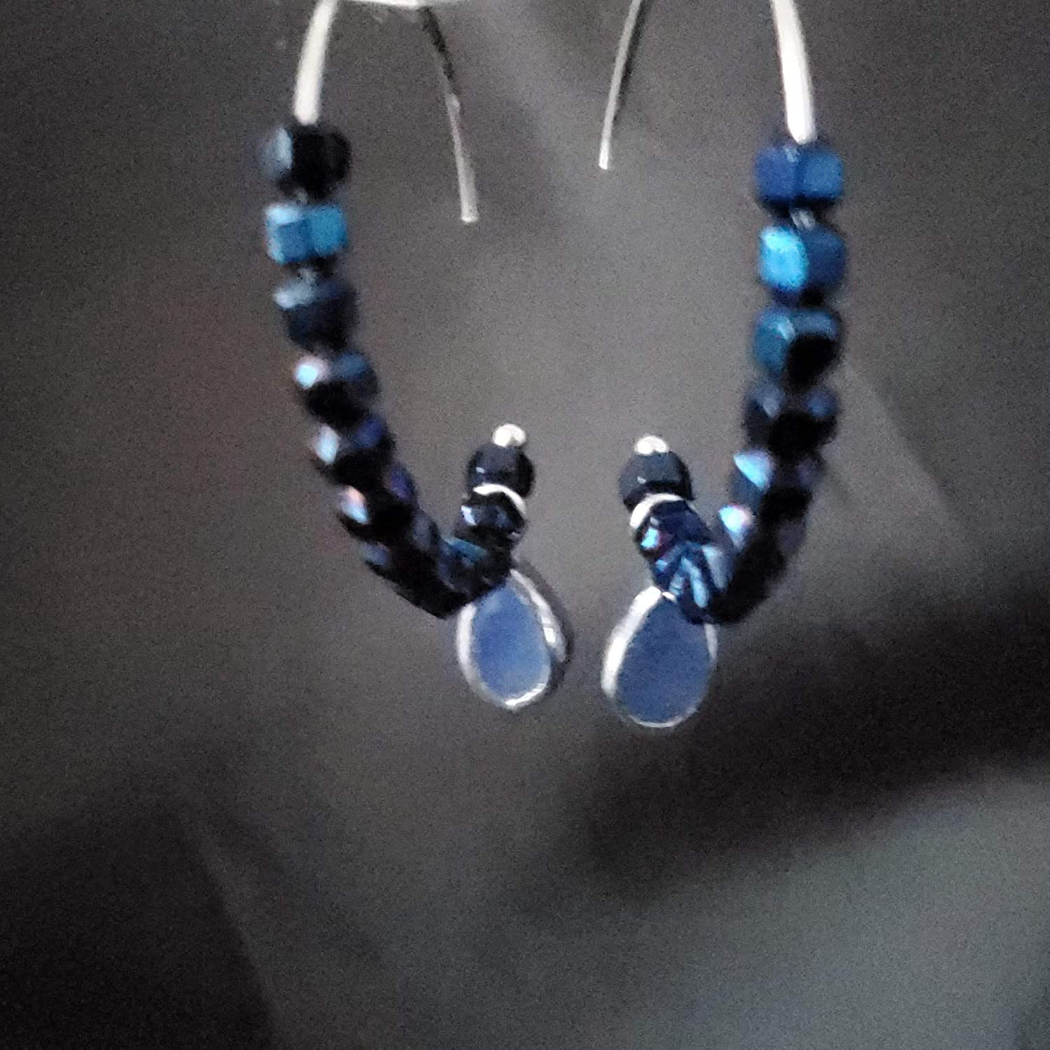 Sapphire Blue Hoop Spring Max 81% OFF new work one after another Earrings