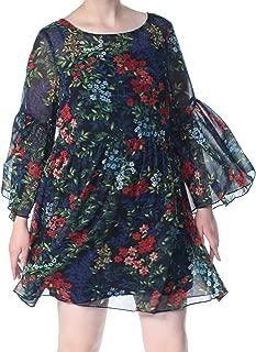 RALPH LAUREN Womens Navy Georgette Floral Bell Sleeve Jewel Neck Above The Knee Dress US Size: 14