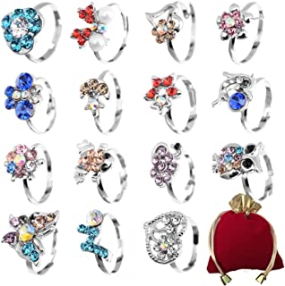 Shuning Children Kids 20pcs Cute Crystal Adjustable Rings Silver Jewelry