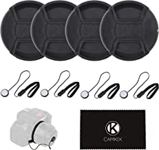 Lens Cap Bundle - 4 Snap-on Lens Caps for DSLR Cameras - 4 Lens Cap Keepers - Microfiber Cleaning Cloth Included - Compatible Nikon, Canon, Sony Cameras (55mm)