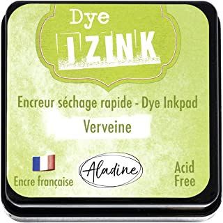Aladine - Izink Dye Verbena Inker - Quick Drying Ink for Stamps and Stencils - Scrapbooking and Creative Cartery - French Ink - Size M - 5 x 5 cm - Light Green Color