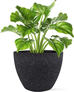 LA JOLIE MUSE Indoor Outdoor Large Tree Planter - 14.2 Inch Flower Pots with Drainage, Plant Pot, Modern Speckled-Black