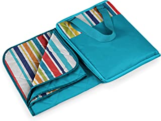 Picnic Time Vista Outdoor Picnic Blanket Tote, Aqua with Fun Stripes