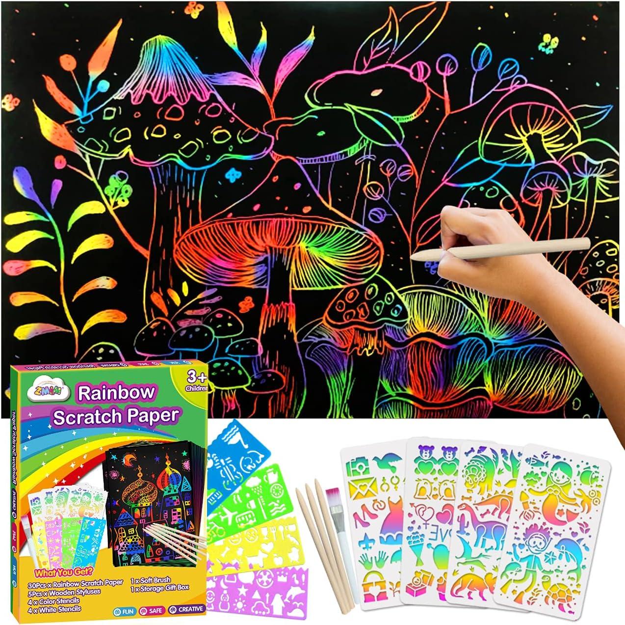 Genuine Free Shipping ZMLM Scratch Paper Art-Craft Kit: 11''x 8'' Branded goods Magic Sheets Rai Big