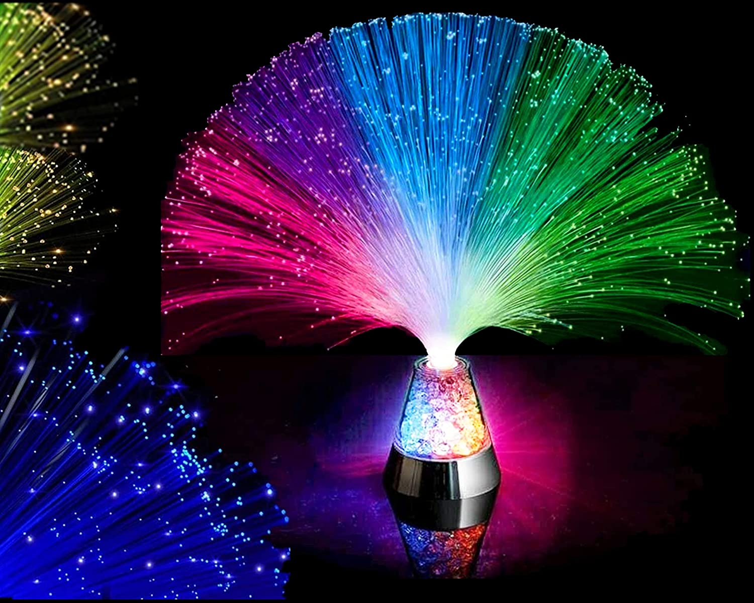 Ice Fiber Optic Mood Novelty Lamps Lighting Glacier with Color-Changing Crystals Base : Garden & Outdoor