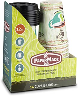 [12 Oz 14 Count] PaperMade Disposable Insulated To Go Designed Hot Cups With Black Dome Lids, For Drinking Coffee, Tea, Or Any Hot Beverage, Throw Away, Travel, Spill Free, Great For Home Or Cafe