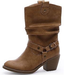 Women's Mid-Calf Cowboy Boots Modern Western Distressed...