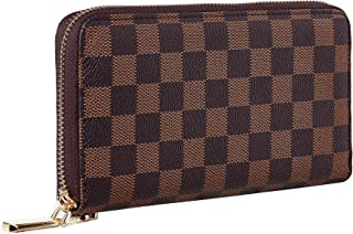Women's Checkered Zip Around Wallet and Phone Clutch RFID Blocking Card Holder Organizer (Victoria)