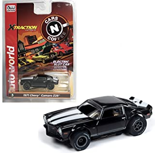 Auto World Xtraction 1971 Chevy Camaro (Black w/White Stripes) HO Scale Slot Car