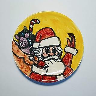 Babbo Natale-Piatto di ceramica fatto a mano,diametro Cm 11,7,pronto per essere appeso al muro.Made in Italy,Toscana,Lucca...