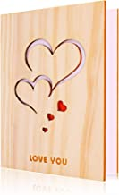 Handmade Walnut Wood Love Greeting Card with Unique Gift Card Box The Best Birthday, Valentine's Day Anniversary Gift Idea Card. (Love you 2)