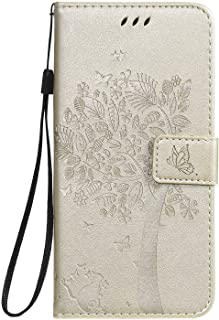Miagon för Huawei Nova 5T präglat fodral, PU-läder plånbok anteckningsbok träd katt fjäril design fodral med ställ korthål...