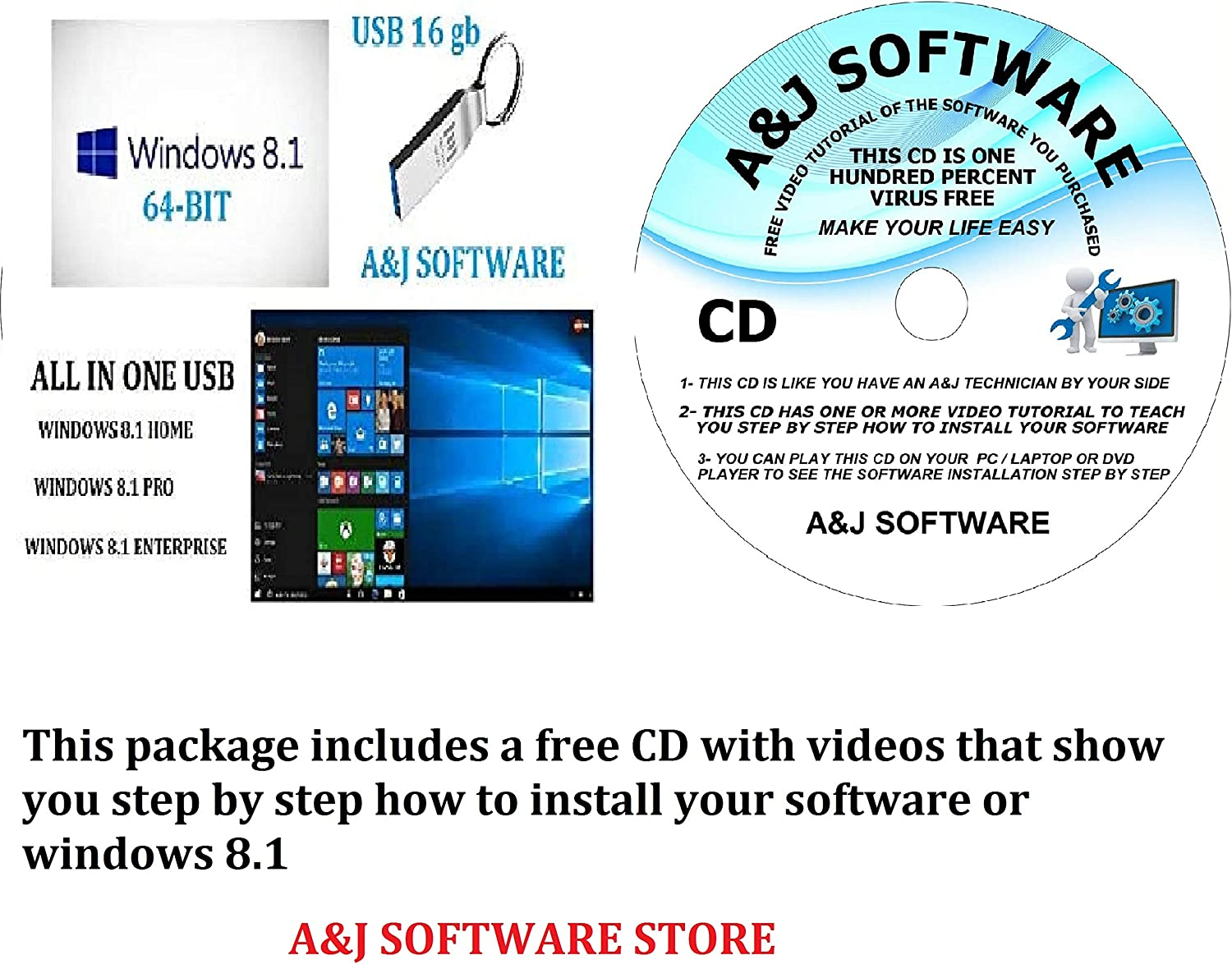WINDOWS 8.1 Cheap mail order sales USB SUITE. 64-BIT REINSTA FIX FACTORY RECOVERY FRESH Max 51% OFF