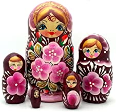 Traditional pink flowers Russian nesting doll Hand Carved Hand Painted 5 piece DOLL Set / 5