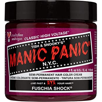 Manic Panic Fuschia Shock Hair Dye – Classic High Voltage - Semi-Permanent Hair Color - Dark Pink Fuschia Shade - For Dark & Light Hair – Vegan, PPD & Ammonia-Free - For Coloring Hair on Women & Men