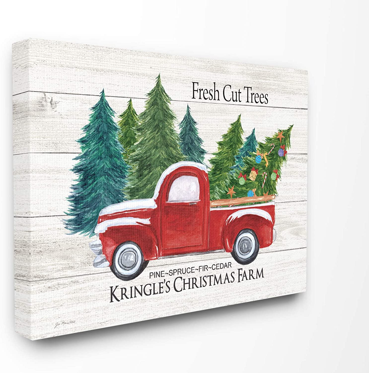Stupell Industries Home Holiday Rustic White Planked Look Fresh Cut Trees Red Pickup Christmas Farm Stretched Canvas Wall Art, Multicolor