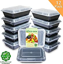 Enther Meal Prep Containers [12 Pack] Single 1 Compartment with Lids, Food Storage Bento Box   BPA Free   Stackable   Reusable Lunch Boxes, Microwave/Dishwasher/Freezer Safe,Portion Control (28 oz)