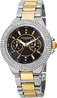 Women's Multifunction Crystal Watch - 2 Subdials Day and Date, Rows of Crystal on Bezel on Stainless Steel Bracelet - AK789