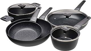Moneta Yes (Zeus 2.0) Batería 8 piezas, Aluminio Antiadherente Reforzado, Color Negro, para todo tipo de cocinas incluida inducción