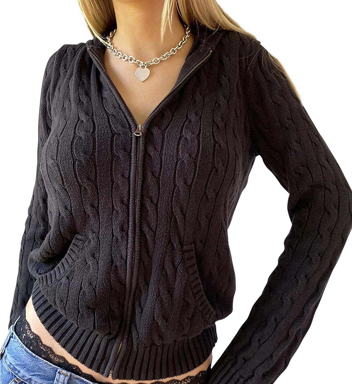 SAFRISIOR Women's Y2K Zip Up Cable Knitted Crop Hoodies Sweatshirt Drawstring Hooded Sweaters Cardigan Jacket