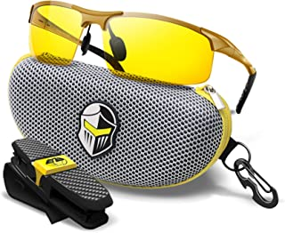 Night Driving Glasses - Semi Polarized Yellow Tint Anti Glare HD Lens Clear Vision - Unbreakable Metal Frame with Car Clip Holder - Knight Visor