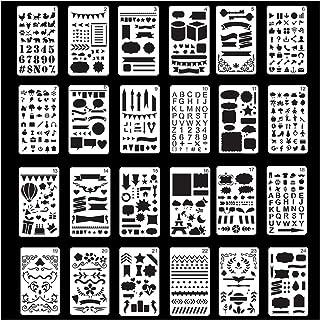 NIAGUOJI Lot de 24 pochoirs à peinture pour journal, modèles de planning en plastique, pochoirs lettres et chiffres, pour ...