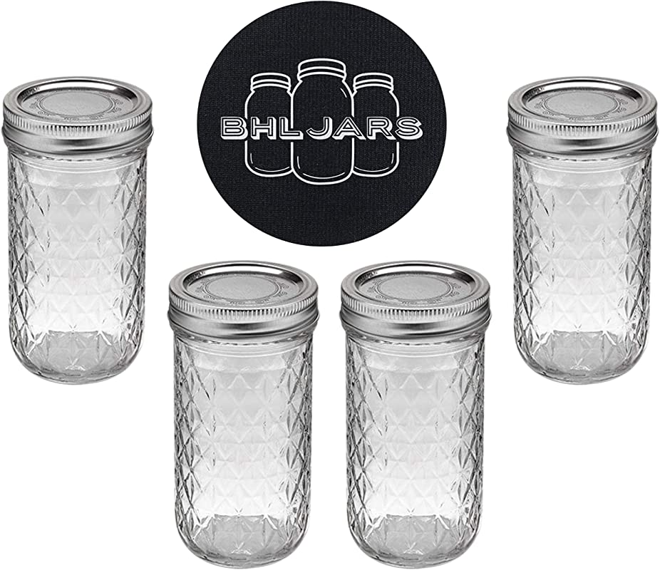 Ball Quilted Crystal Mason Jars Regular Mouth 12 Oz Bundle With Non Slip Jar Opener Set Of 4 Mason Jars Canning Glass Jars With Lids And Bands