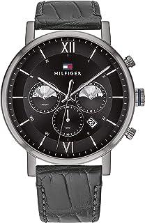Tommy Hilfiger Men'S Black Dial Black Leather Watch - 1710395