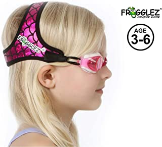 Frogglez Swim Goggles with Patented Painless Strap Technology - No Leak Anti Fog Swimming Goggles with UV Protection