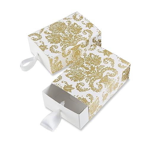 "Kate Aspen ""Treasures"" Traditional Gold Damask Favor Box, Set of 24"